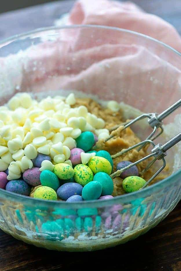 easter cookie dough recipe in glass bowl