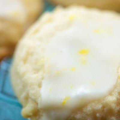 Close up of icing on a lemon cookie.