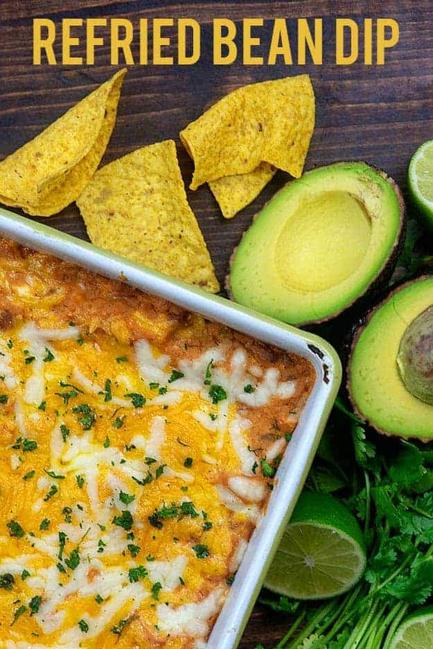 refried bean dip in baking dish