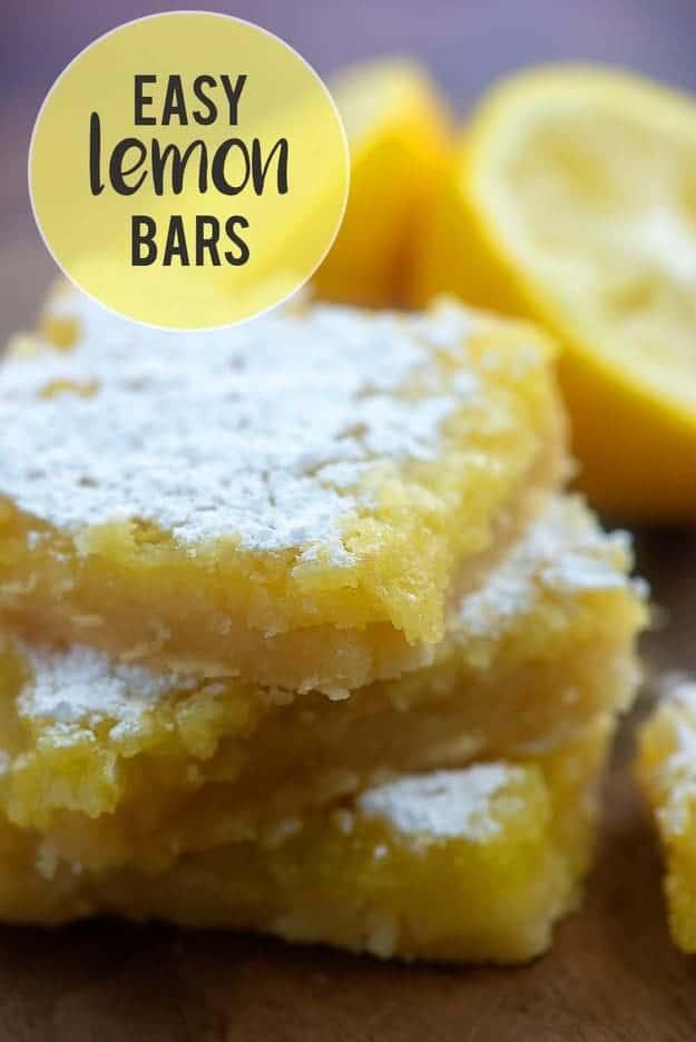 lemon bars on cutting board