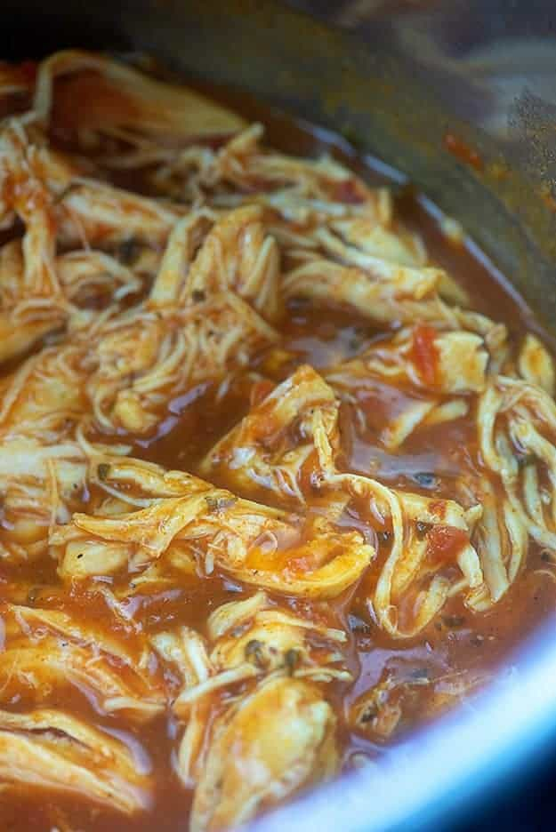 shredded chicken in Instant Pot.