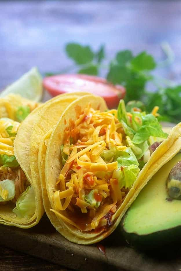 instant pot shredded chicken tacos in corn tortillas.