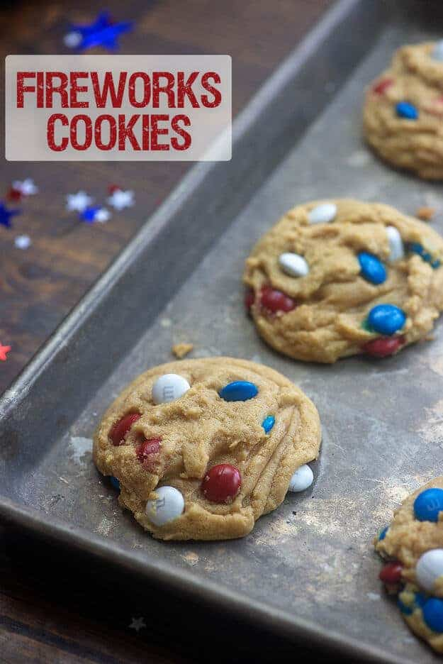 Cooked cookies on a baking sheet.
