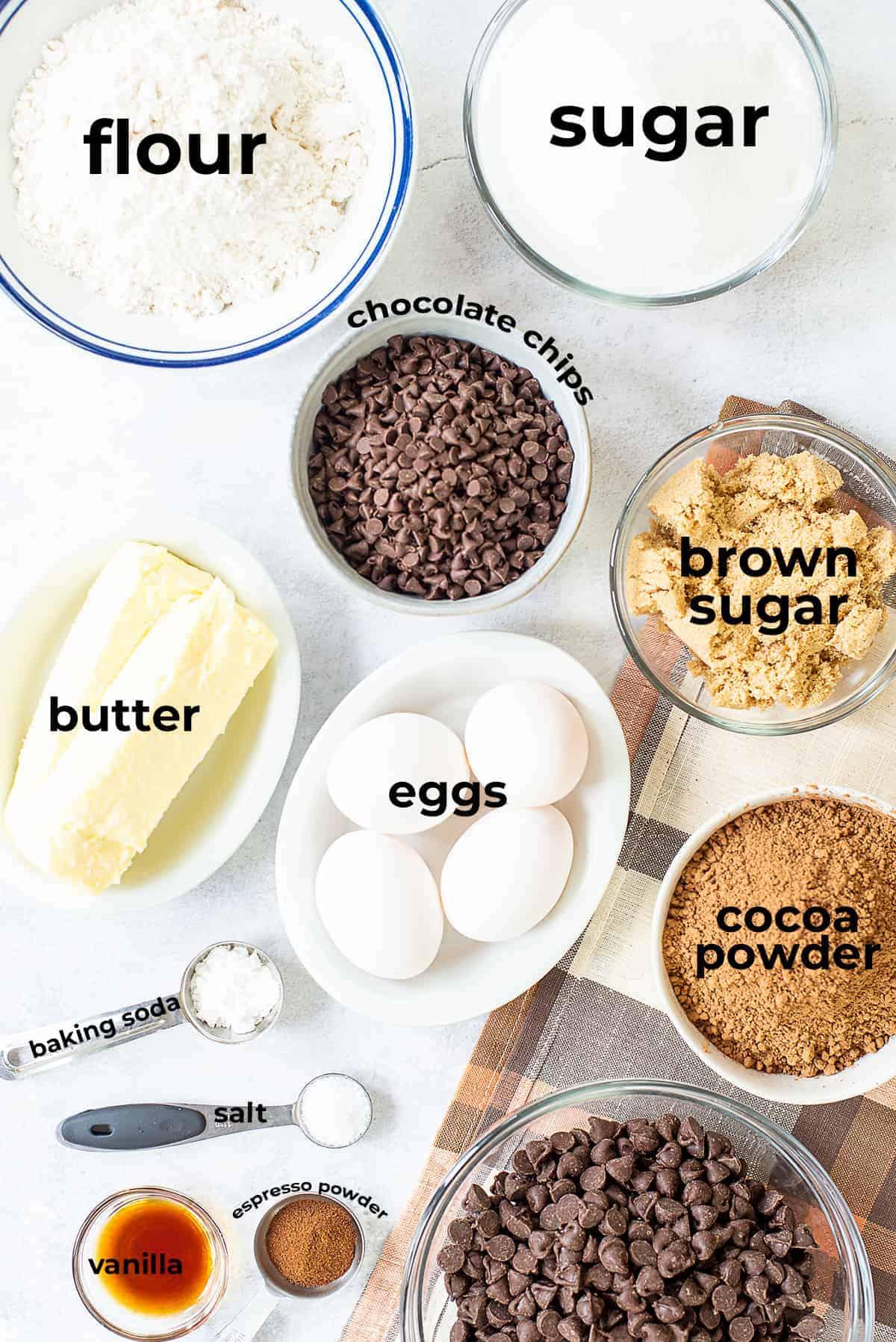 ingredients for brookies cookies.