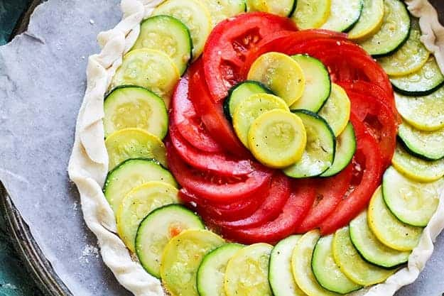 tart with zucchini and tomato.