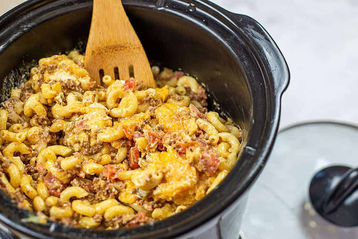cheesy Mexican mac and cheese in the crockpot.