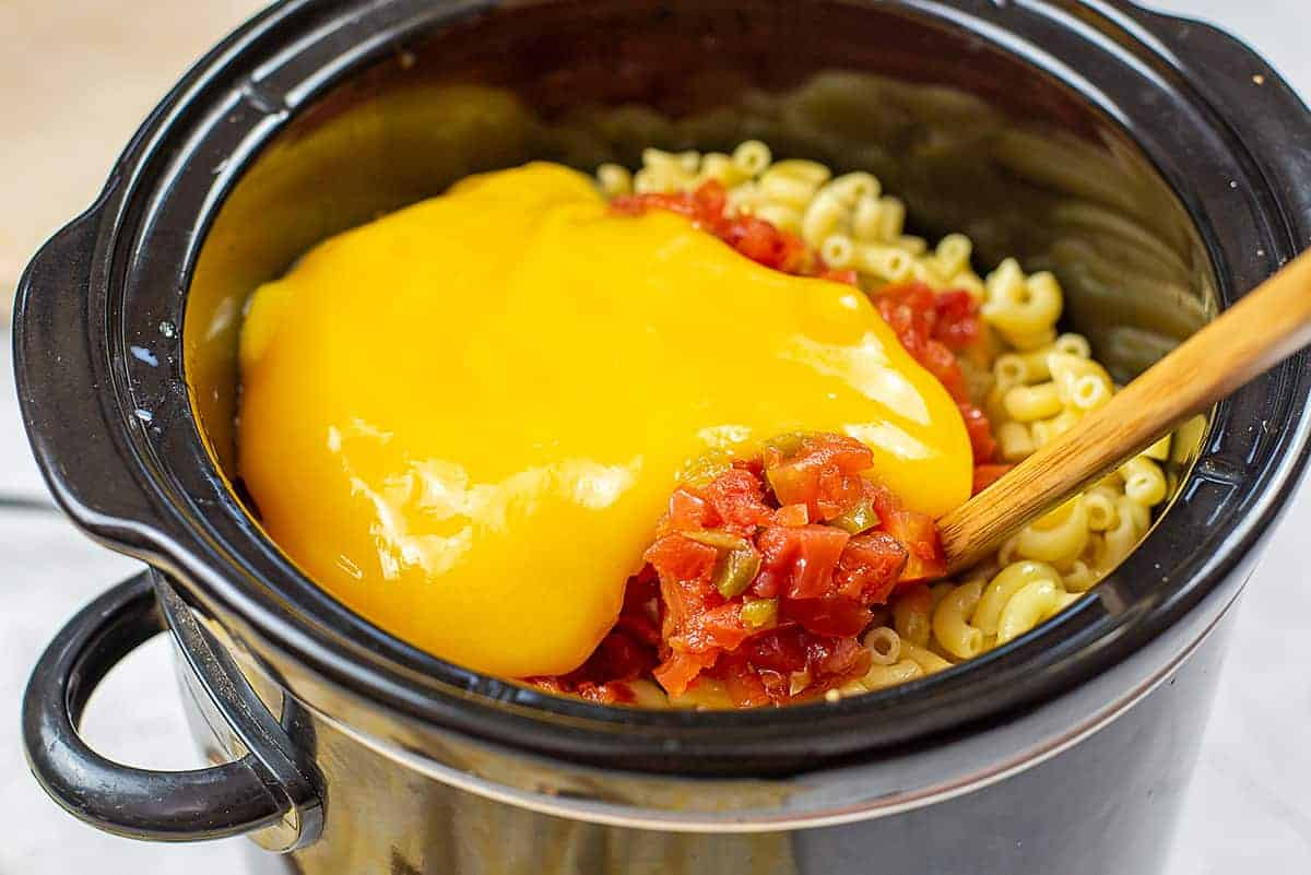 taco mac and cheese ingredients in crockpot.