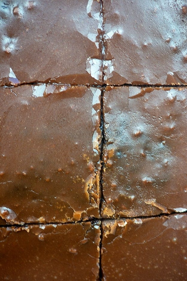Brownies topped with fudge cut into squares