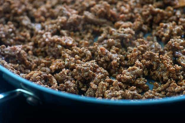 seasoned ground beef in skillet