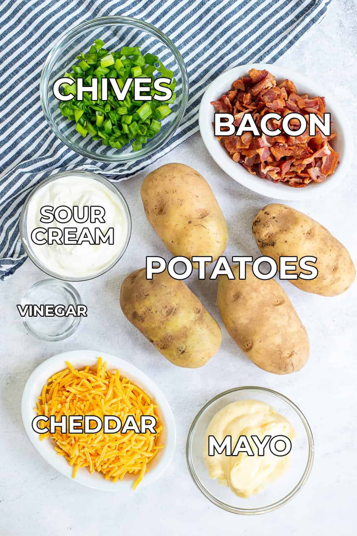 ingredients for baked potato salad.