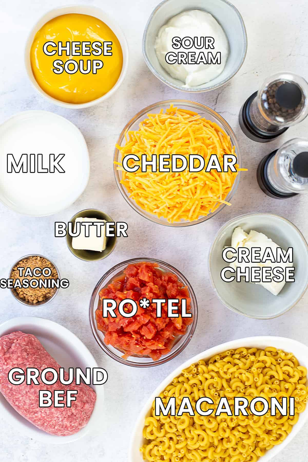 ingredients for taco mac and cheese with text overlay.