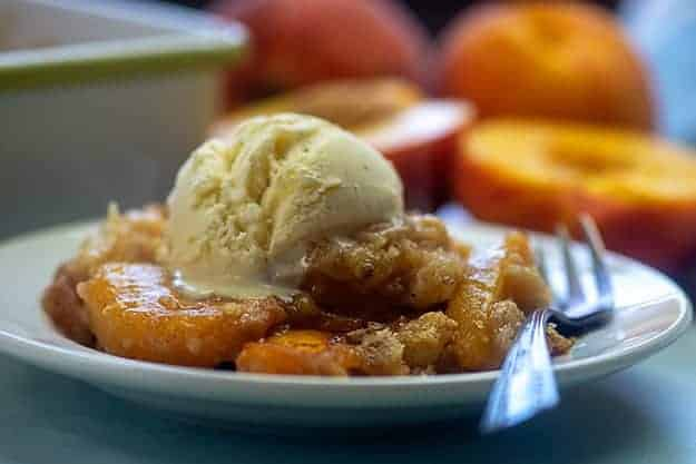 peach cobbler with bisquick.