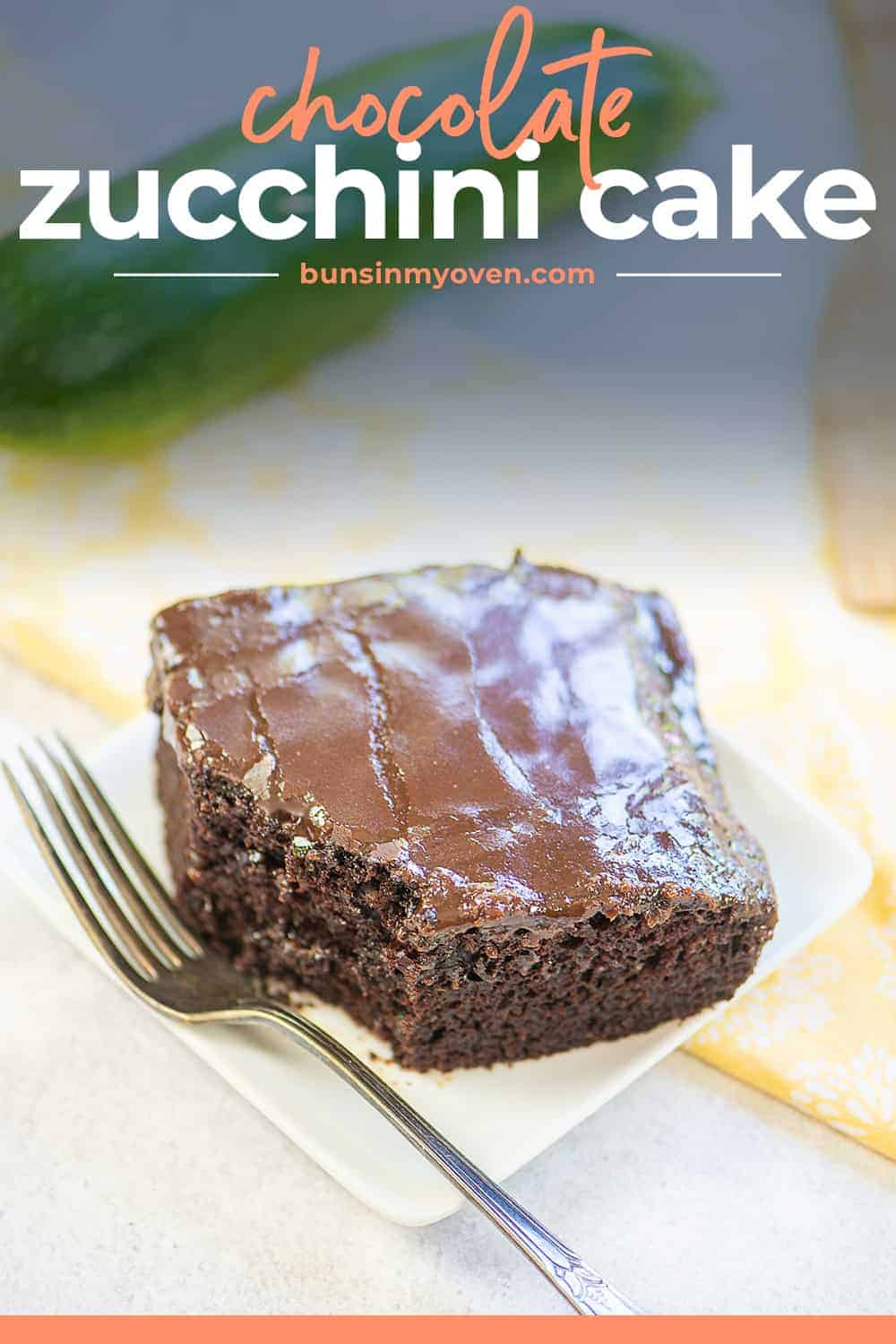 chocolate zucchini cake on plate with a fork.