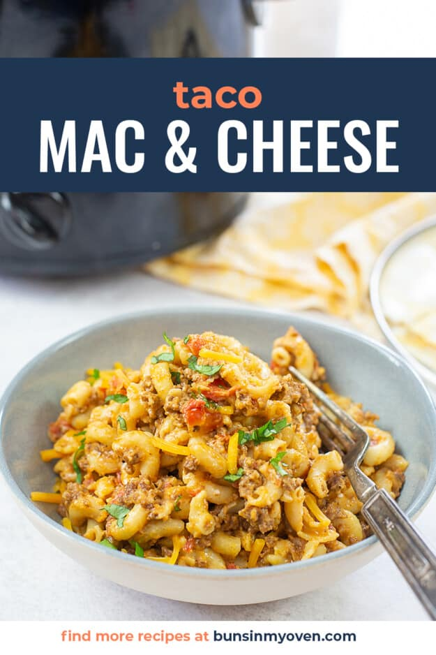 slow cooker macaroni and cheese in bowl.