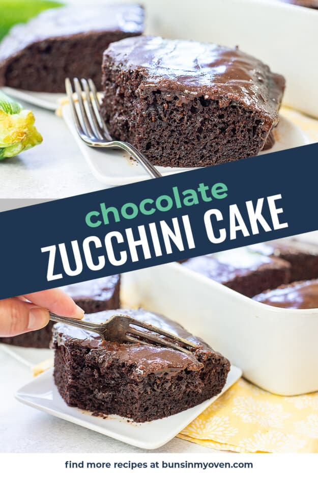 collage of chocolate cake images with text for Pinterest.