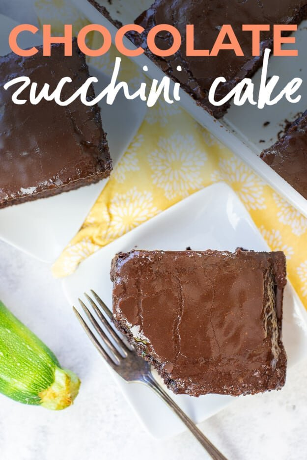 overhead view of zucchini cake on plates with text for Pinterest.