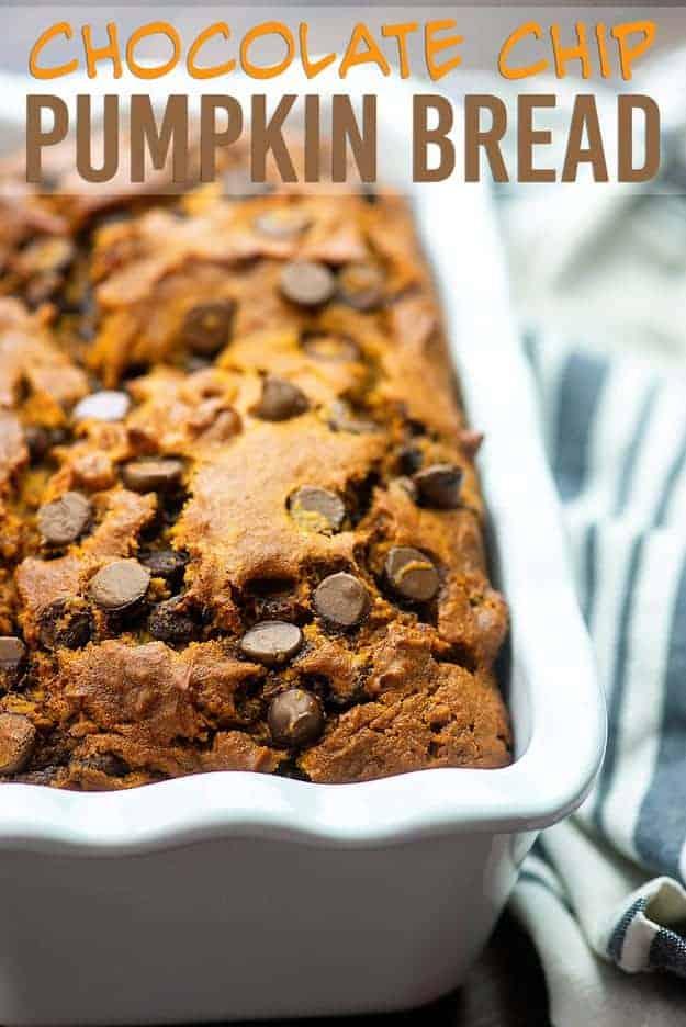 Chocolate Chip Pumpkin Bread - so moist and full of pumpkin! #pumpkin #pumpkinbread #recipe