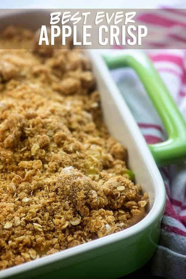 A baking dish of apple crisp ready to go into the oven.