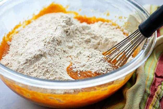 pumpkin spice cupcake batter in mixing bowl