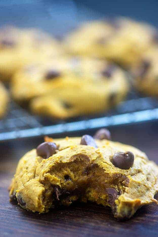thick pumpkin spice cookies with chocolate chips