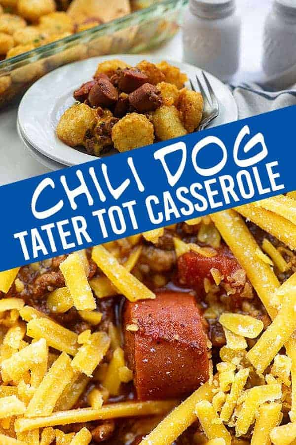 Chili dogs and tater tots mixed together.