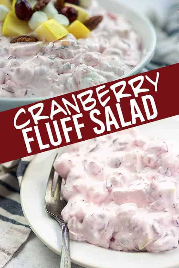 Cranberry salad and fork on a white plate.