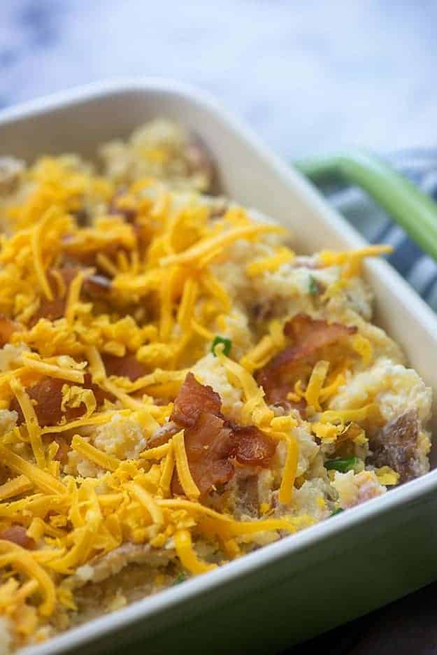 loaded potato casserole in baking dish