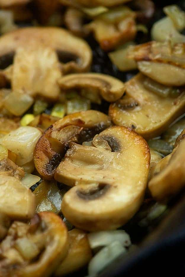 sauteed mushrooms in skillet