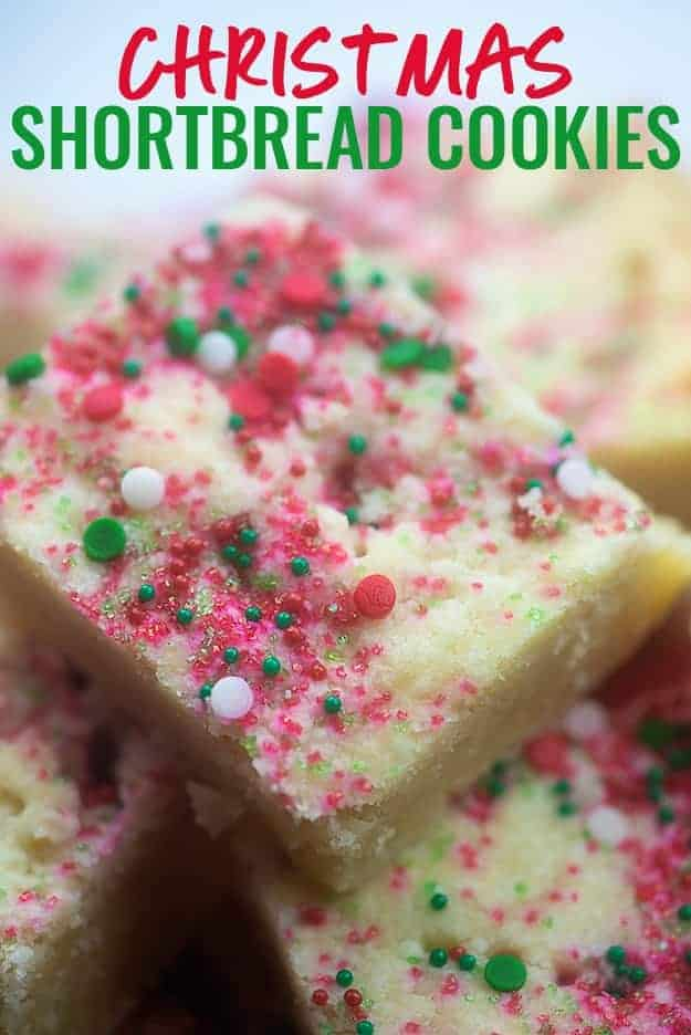 Sprinkles on top of cookie squares.