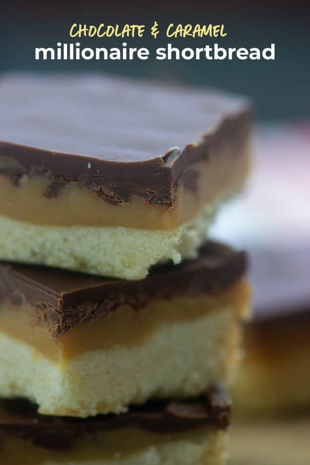 Millionaire Shortbread - buttery shortbread, thick caramel, and decadent chocolate all in one little treat! #shortbread #cookies #dessert