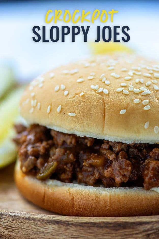 Crockpot Sloppy Joes are a family favorite in our house. Love that I can just toss it all in the crockpot and come home to a tasty dinner. #sloppyjoe #crockpot #slowcooker