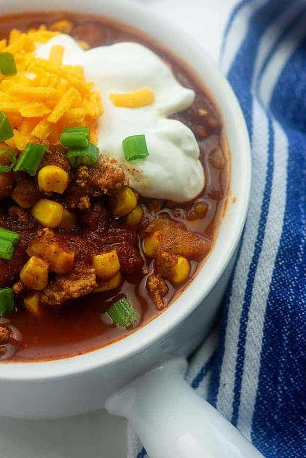 slow cooker turkey chili recipe in bowl