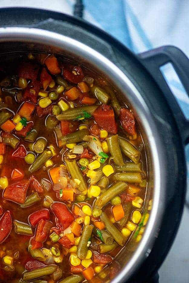 Vegetable soup in an instant pot.