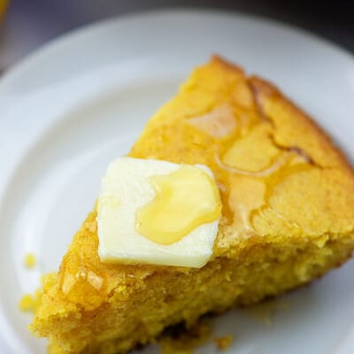 homemade cornbread with honey and butter