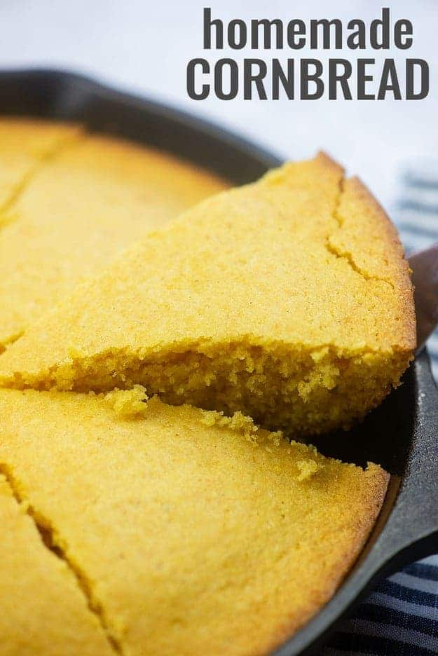homemade cornbread in cast iron skillet