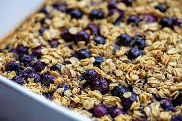 blueberry baked oatmeal in baking dish