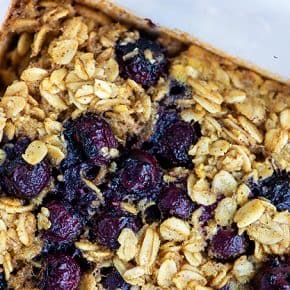 close up of blueberry oatmeal recipe