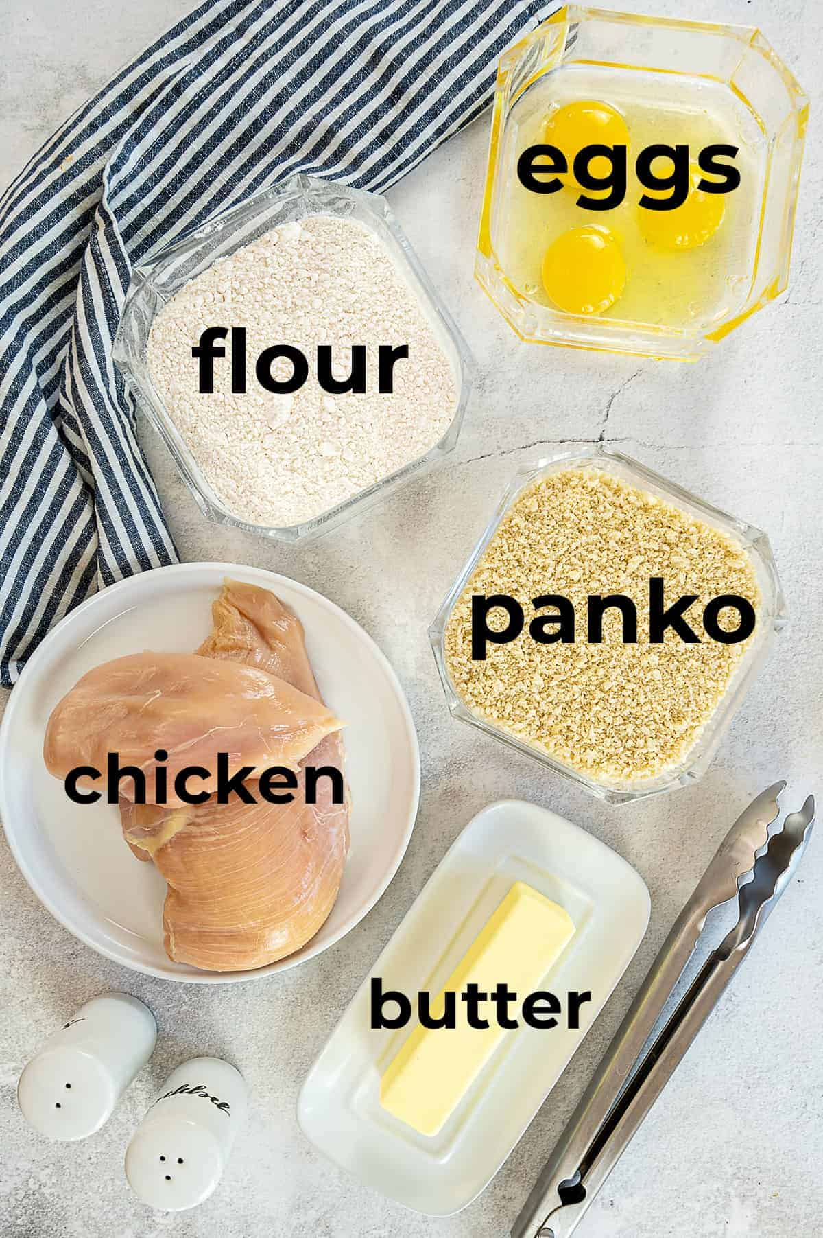 overhead view of ingredients for chicken strips.