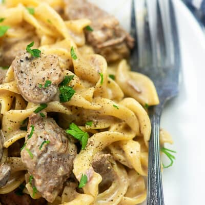 Beef stroganoff on a white plate with a fork.