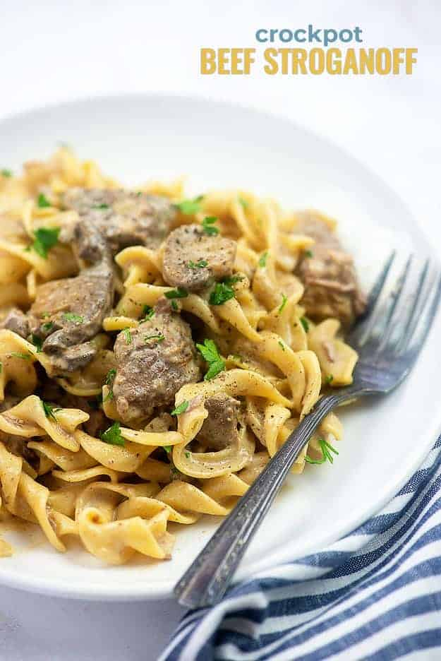 A plate of Beef Stroganoff on a small white plate.