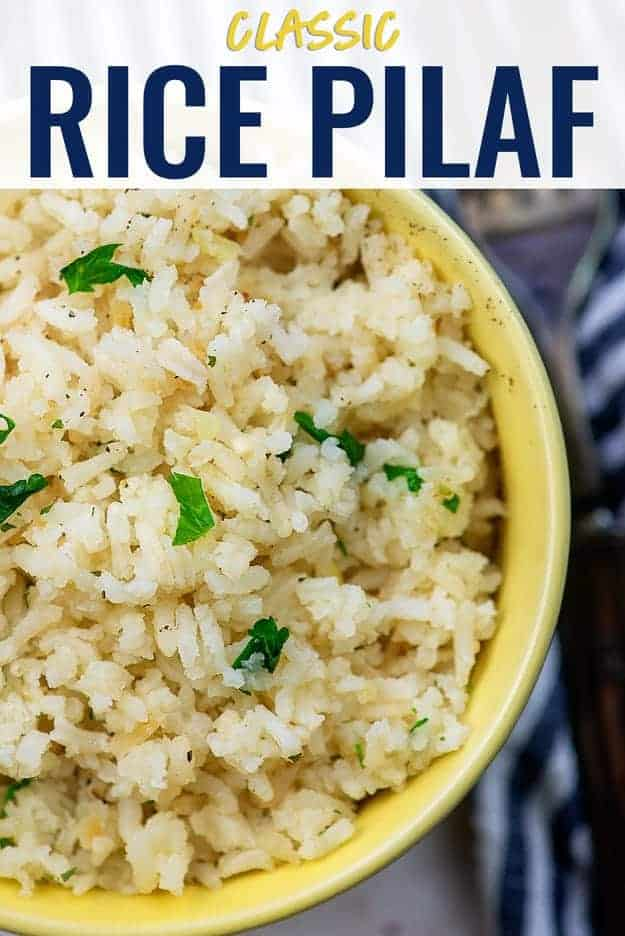 rice pilaf in yellow bowl