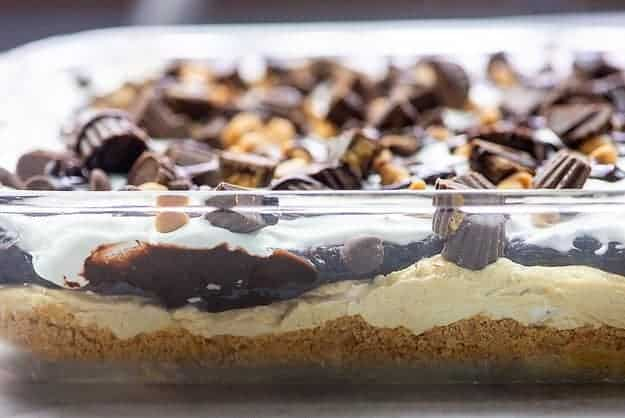 peanut butter lasagna in glass baking dish
