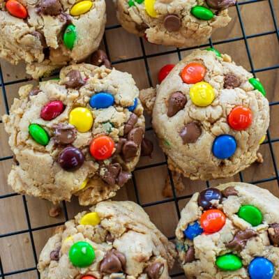 monster cookies on cooling rack.