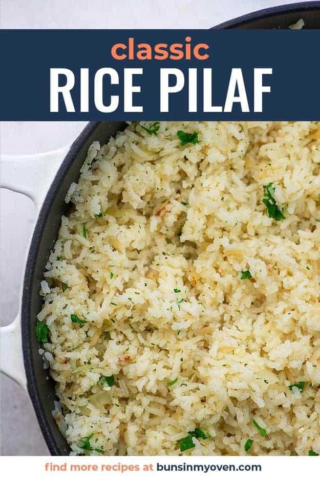 White cast iron pot with white rice.