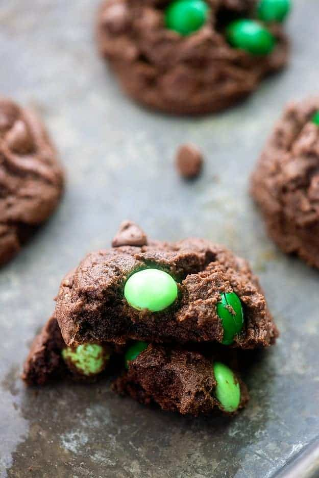 chocolate mint cookies on baking sheet