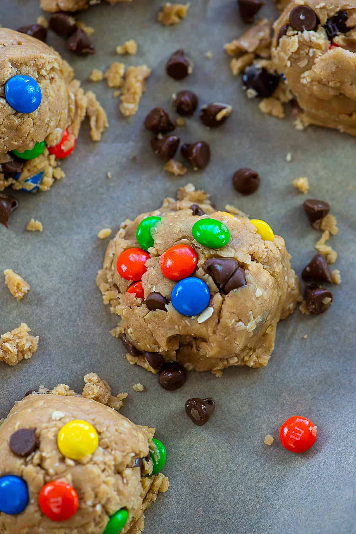 monster cookie dough on baking sheet.