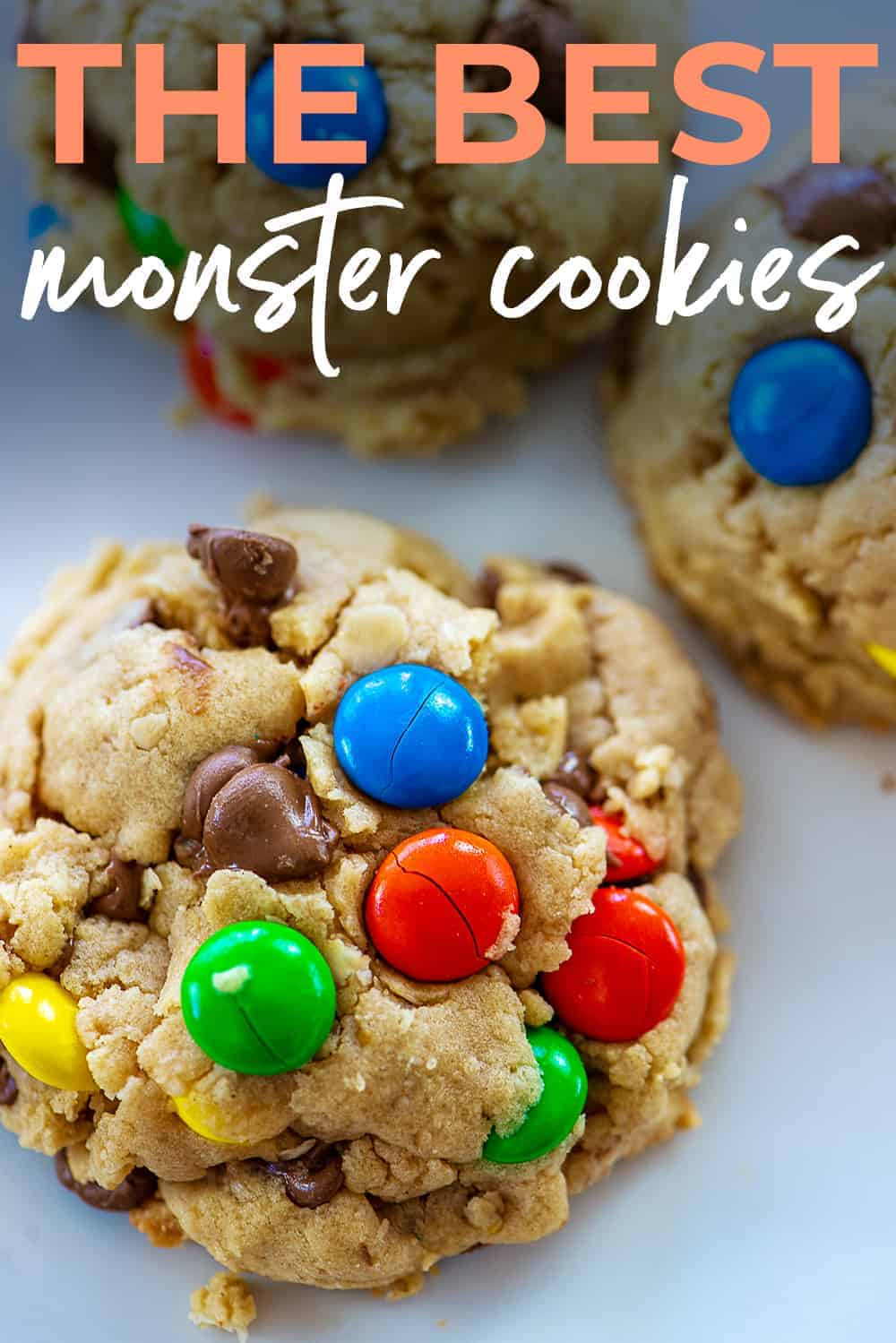 monster cookie image with text for pinterest.