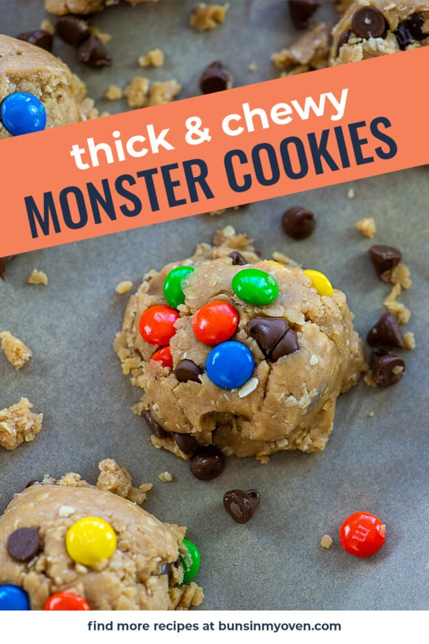 cookie dough on bakign sheet with text for Pinterest.
