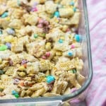 marshmallow cereal bars in glass baking dish with sprinkles