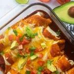 beef enchilada recipe in glass baking dish